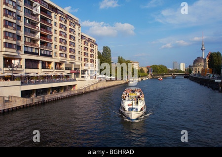 Tourist ferry on the River Spree Berlin, Germany - Stock Image