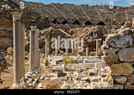Turkey Side Ruined Ampitheatre and Agora - Stock Image