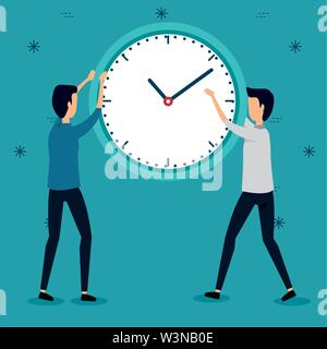 businessmen with clock teamwork strategy communication - Stock Image