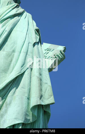 Declaration of Independence, The Statue of Liberty at New York City - Stock Image
