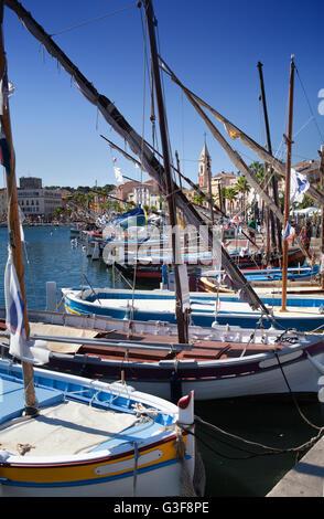 Sanary harbour on the Cote d'Azur in Paris, France - Stock Image
