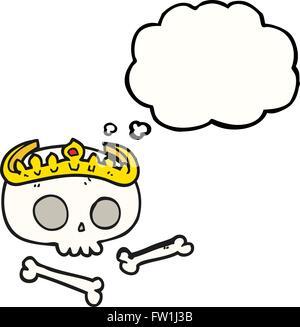 freehand drawn thought bubble cartoon skull wearing tiara - Stock Image