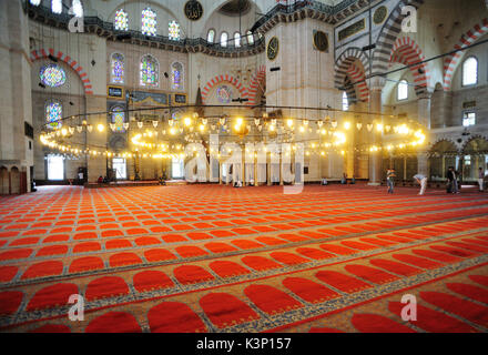 The interior view of mosque in Istanbul,Tureky - Stock Image