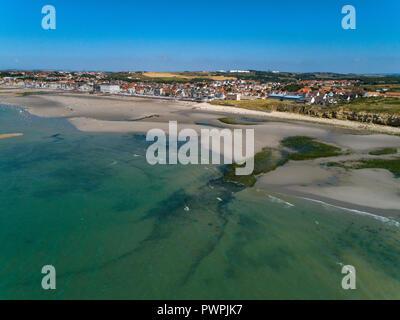 France, Hauts de France, Pas de Calais, aerial pic. Wimereux - Stock Image