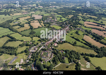 An aerial view of the East Sussex village of Burwash, former home of Rudyard Kipling - Stock Image
