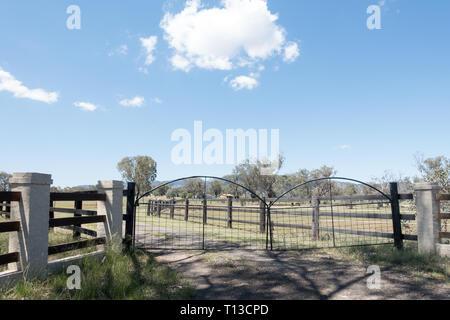 Rural Farm gates in the New England district of NSW Australia. - Stock Image