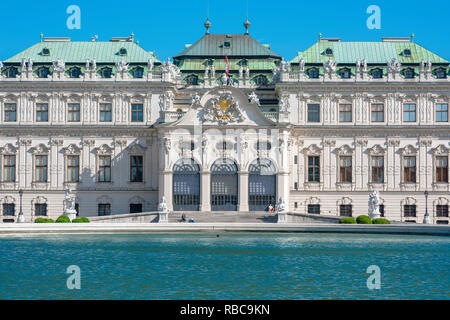 Schloss Belvedere Palace, view of the southern facade (and main entrance) of the baroque Schloss Belvedere Palace building, Vienna, Wien, Austria. - Stock Image