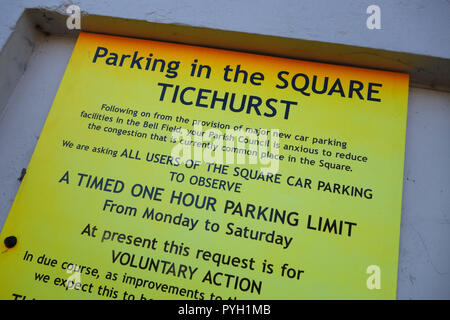notice about public parking in Ticehurst East Sussex, United Kingdom - Stock Image
