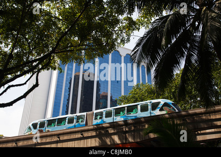 KL Monorail mass transport train on trail along Jalan Sultan Ismail in daylight. - Stock Image