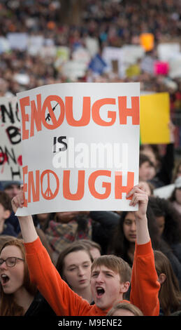 March For Our Lives, Boston, Massachusetts, USA 3-24-2018:  An estimated crowd of over 100,000 People gathered on the Boston Common during the March For Our Lives anti-gun demonstration. March For Our Lives demonstrations took place in most major U.S. cites and around the world on March 24th 2018. March For Our Lives demonstrations were a reaction to the school shooting at Marjory Stoneman Douglas High School on Valentine's Day of 2018 in Parkland Florida, USA.  The shooting in Florida left 17 high school students dead. Credit: JBCN / Alamy Live News - Stock Image
