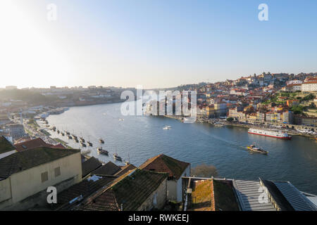 overview over douro river and old town of porto from viewpoint, portugal - Stock Image