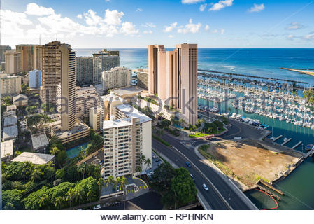Aerial view of the Ala Wai Yacht Harbor, Honolulu, Oahu, Hawaii, USA - Stock Image