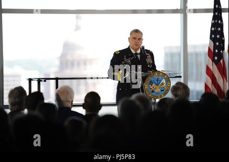The U.S. Army Futures Command officially opened its doors during a cermony at their new headquarters August 24, 2018 in Austin, Texas.  The Texas Military Department is partnering with the new commander, Gen. John M. Murray, with personnel and knowledge that will help bring the Army into a more efficient and technically proficient future.  (U.S. Army National Guard photo by Master Sgt. Michael Leslie, 36th Infantry Division Public Affairs) - Stock Image