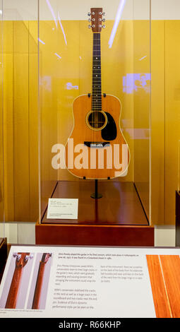 Elvis Presley guitar played at his last concert, Musical Instrument Museum, Phoenix, Arizona, USA - Stock Image