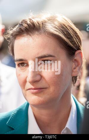 BELGRADE, SERBIA - SEPTEMBER 16, 2018:  Prime Minister Ana Brnabic talking in the 2018 edition of Belgrade Gay Pride. She's the 1st lesbian prime mini - Stock Image