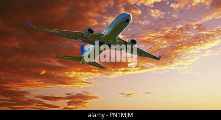A passenger jet airliner flying above closeup with an Orange & Gold coloured Altocumulus cloud formation in a yellow sunset sky. Atmospheric beauty - Stock Image