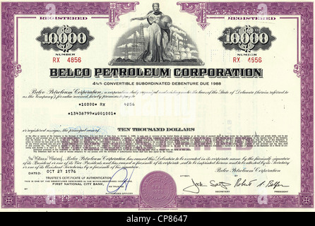 Historical stock certificate of an oil and gas company, a man opening a valve of a pipeline in front of oil derricks, - Stock Image