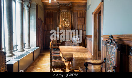 The Dining Room of Palau Guell (Guell Palace) in Barelona designed by Antoni Gaudi - Stock Image