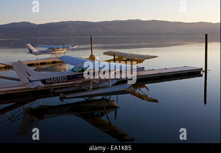 Seaplanes Docked at the Sky Lark Resort at the Splash-In, Lakeport, California, Lake County, California - Stock Image