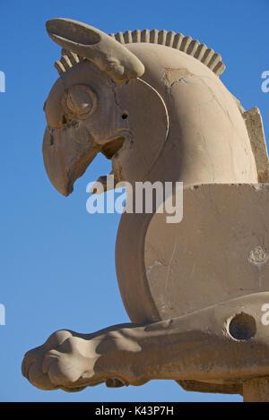 Detail of  griffin. Homa bird. Achaemenid ruins of Persepolis, Iran. - Stock Image