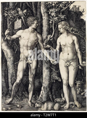 Albrecht Dürer, Adam and Eve, copper engraving, 1504 - Stock Image