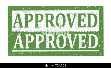 Rubber stamp APPROVED, text on white illustration - Stock Image
