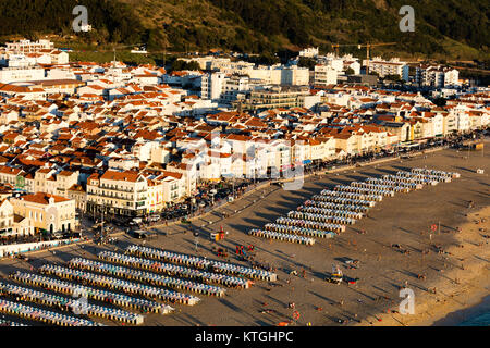 Nazare, Portugal, August 12, 2017: Nazare is one of the most popular seaside resorts in the Portugal's Silver - Stock Image