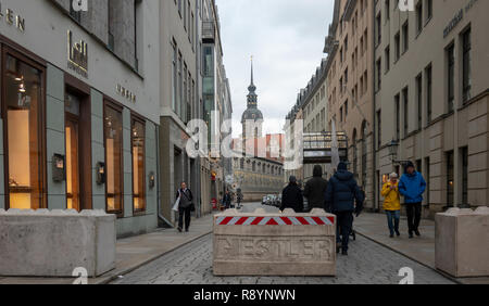 Dresden, Germany, December 14., 2018: Large cuboid blocks made of light grey concrete, to ward off terrorist attacks on visitors to the Christmas mark - Stock Image