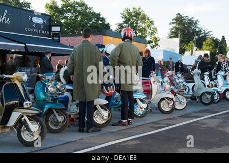 Chichester, West Sussex, UK. 14th Sep, 2013. Goodwood Revival. Goodwood Racing Circuit, West Sussex - Saturday 14th September. Mods congregate outside a cafe, parking their Vespas in a line. Credit:  MeonStock/Alamy Live News - Stock Image