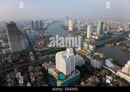 View over Bangkok & Chao Phraya River at dawn, Thailand - Stock Image
