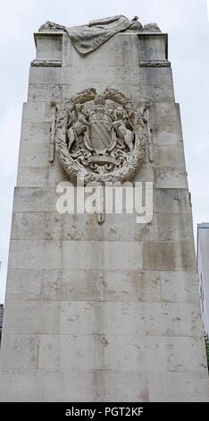 Central cenotaph Manchester war memorial showing coat of arms of Manchester England - Stock Image