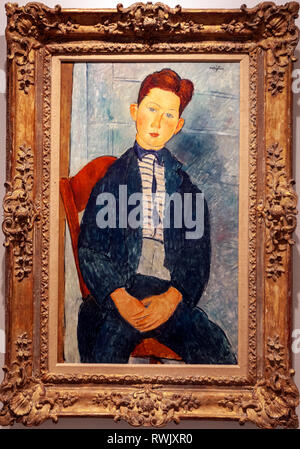 Boy in a Striped Sweater, by Amedeo Modigliani , The Metropolitan Museum of Art, Manhattan, New York USA - Stock Image