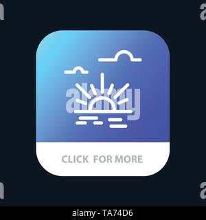 Sun, Brightness, Light, Spring Mobile App Button. Android and IOS Line Version - Stock Image