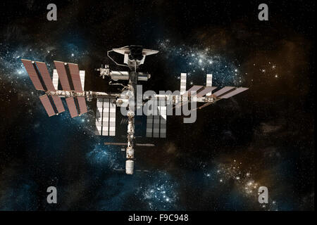 A depiction of the space shuttle docked at the International Space Station on a background of stars. - Stock Image