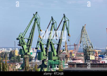 Green port cranes in Gdansk, Poland - Stock Image