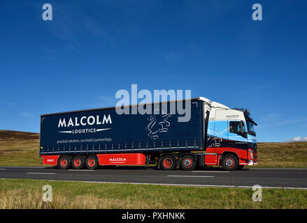 Malcolm Logistics HGV. M6 motorway Southbound carriageway, Shap, Cumbria, England, United Kingdom, Europe. - Stock Image