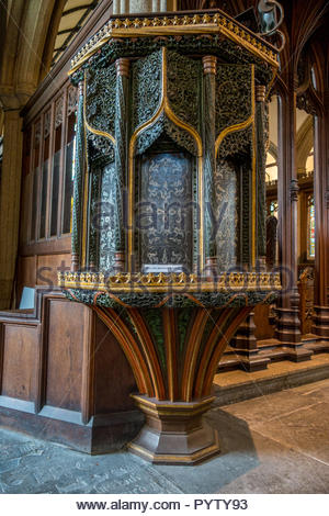 The pre-reformation pulpit in the church of St. Mary Magdalene, Launceston, Cornwall, UK - Stock Image