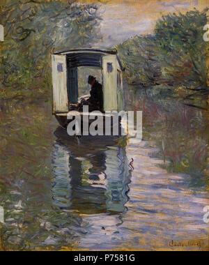 . Le bateau atelier  1876 28 Claude Monet Le bateau atelier - Stock Image