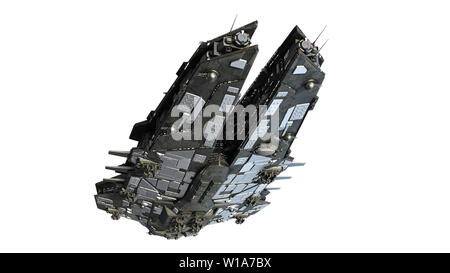 Alien spaceship flying, UFO spacecraft in flight isolated on white background, bottom view, 3D rendering - Stock Image