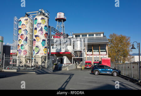 Red Truck Beer Company, a local craft brewery in Vancouver, BC, Canada. - Stock Image