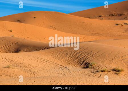 Sand dunes, Erg Chebbi, Sahara desert, Merzouga, Morocco - Stock Image