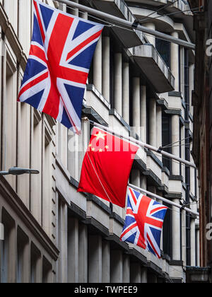 Chinese Flags in the City of London  - Chinese flags mark the growing presence of Chinese Banks in the City of London financial district. - Stock Image