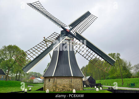 Windmill at the Zuiderzee Museum, Enkhuizen, Holland, Netherlands - Stock Image