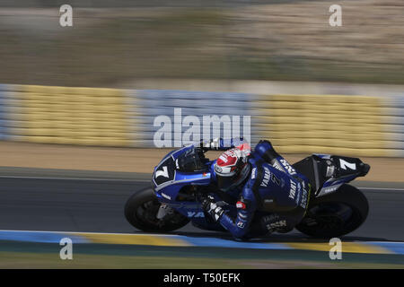 Le Mans, Sarthe, France. 19th Apr, 2019. YART - YAMAHA YZF R1 - Italian rider NICOLO CANEPA in action during the 42th edition of the 24 hours motorcycle of Le Mans at circuit Bugatti - Le Mans - France Credit: Pierre Stevenin/ZUMA Wire/Alamy Live News - Stock Image