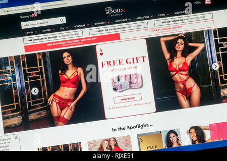 The home page of the website of Boux Avenue lingerie stores. - Stock Image