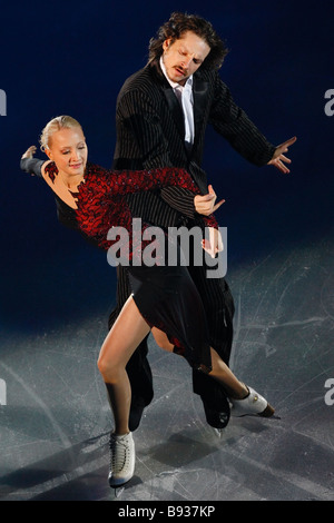 Russians Oksana Domnina and Maksim Shabalin winners of the Cup of Russia in ice dancing the fifth stage of the Grand - Stock Image