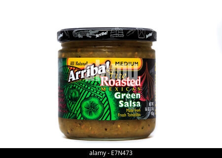 Arriba! Fire Roasted Medium Mexican Green Salsa - Stock Image