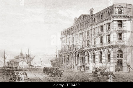 The Great Eastern railway terminus and hotel at Parkeston Quay, Harwich, Essex, England, seen here in the late 19th century.  From The Illustrated London News, published 1865. - Stock Image