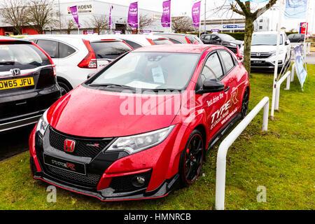 New Honda civic type R racing car performance car Honda showroom - Stock Image