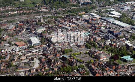 aerial view of Chesterfield town centre - Stock Image